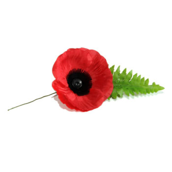 Dress Remembrance Poppy made from silk with a green fern attached.