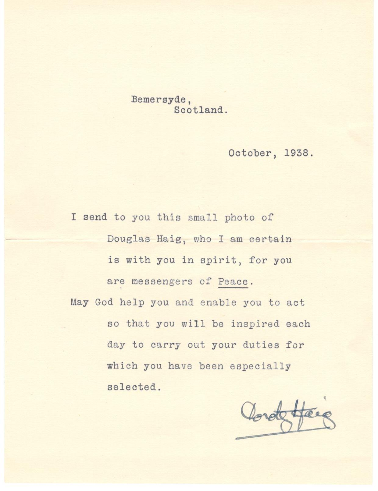 Symbol Of Peace Letter Lady Haig Poppy Factory