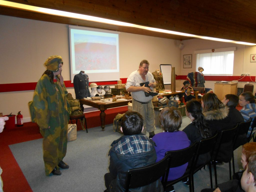 School children visit the Poppy Factory to learn about poppies and life during WW2