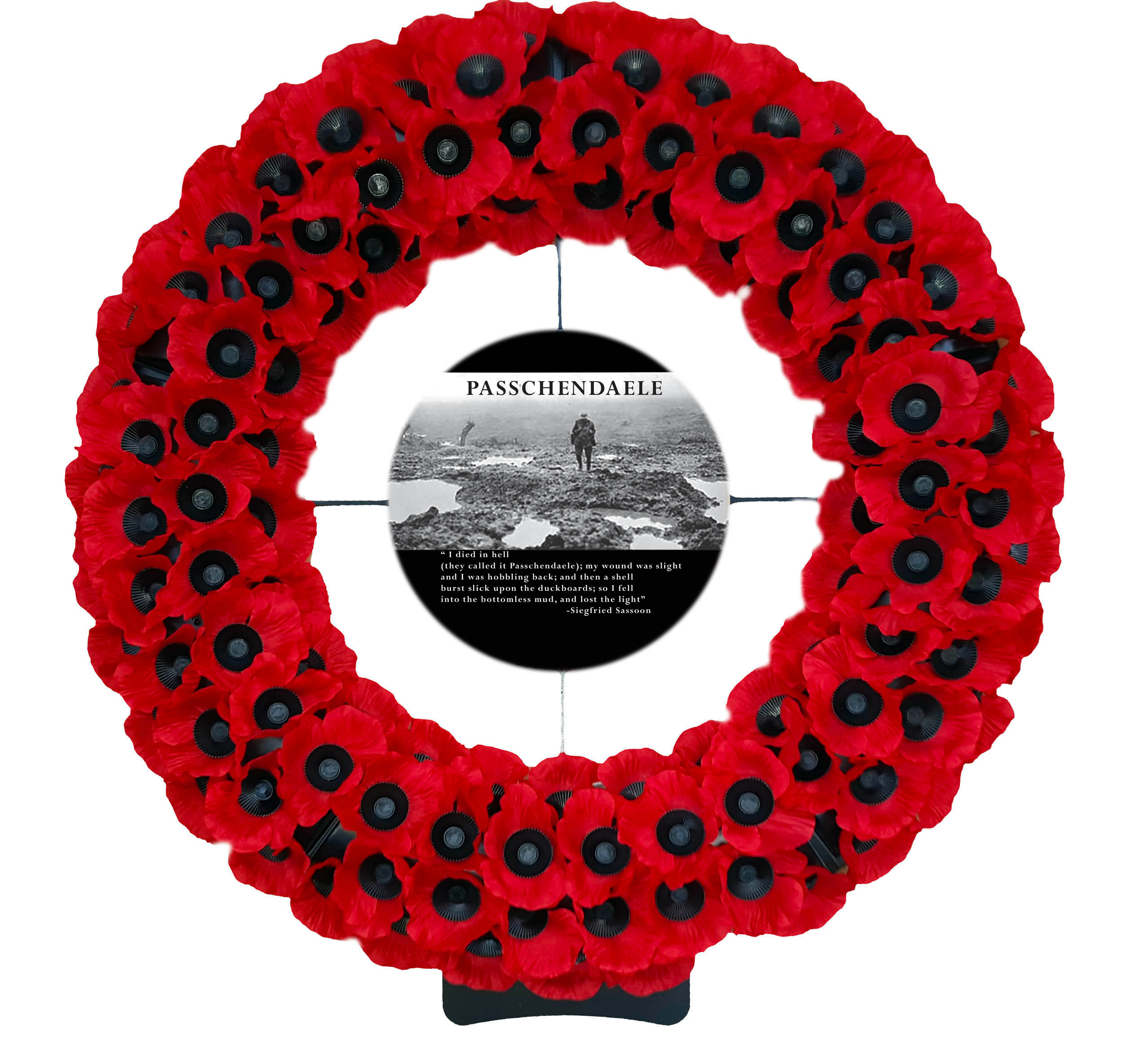 The largest wreath available from Lady Haig's Poppy Factory W8 Showing the Passchendaele Logo
