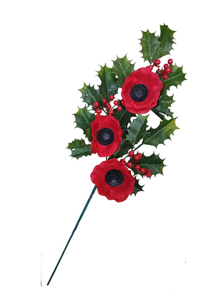 Christmas Sprays Uk.Christmas Poppy Spray
