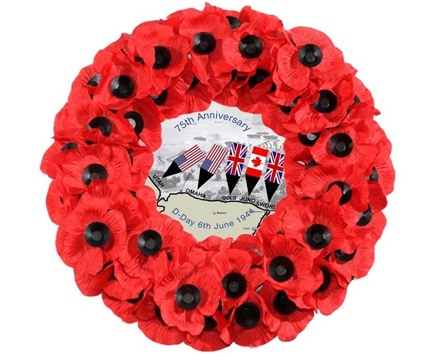 Exclusively designed D-Day75 Poppy Wreath From Lady Haig's Poppy Factory, Edinburgh